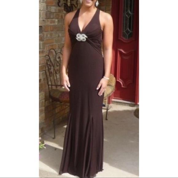 Saks Fifth Avenue Dresses   Backless Brown Full Length Formal Dress ...
